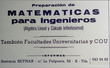 Cartel clases 1987